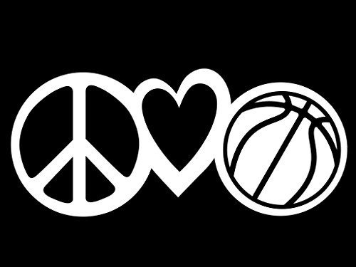 (Peace Love Basketball Vinyl Decal Sticker | Cars Trucks Vans Walls Laptops Cups | White | 7.5 X 3.3 Inch | KCD1610)