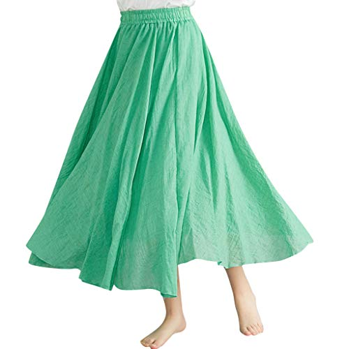 Ximandi Women Elastic Waist Light Soft Solid Cotton Linen Loose Long Styled A-Line Skirt Casual Flowy Skirts Green