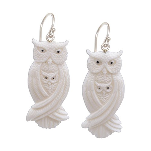 - NOVICA Mother and Child .925 Sterling Silver Hand Carved Bone Dangle Earrings, Owl Bond'
