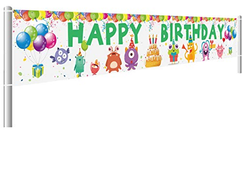 (Colormoon Monster Bash Happy Birthday Banner, Little Monster Birthday Decorations Party Supplies, Outdoor Indoor (9.8 x 1.5)