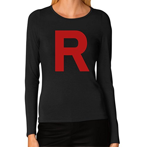 TeeStars Women's - Rocket Inspired Long Sleeve T-Shirt Small Black ()