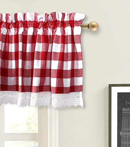 Valance Curtain, Gingham Check Plaid Pattern, Extra Wide and Short Window Treatment for Kitchen Living Dining Room Bathroom Kids Girl Baby Nursery Bedroom - 72 x 16 Set of 2 Color Red & White (Window Treatments For Living And Dining Rooms)