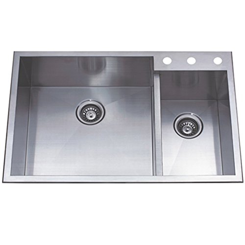 Kingston Brass Gourmetier KDS33229DBNR Uptowne 33-Inch X 22-Inch Self-Rimming 70/30 Double Bowl Sink, Brushed Stainless Steel