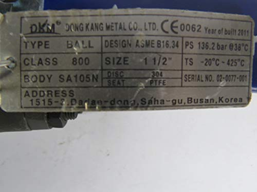 DongKang 03-AA-V125 Ball Valve 1.5 SA105N Class 800 PTFE 304 135.2 Bar