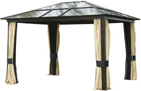 Carpa con toldo para jardín Outsunny de 3 m x 3, 6 m fabricado con aluminio, con techo duro y paredes laterales de malla: Amazon.es: Jardín