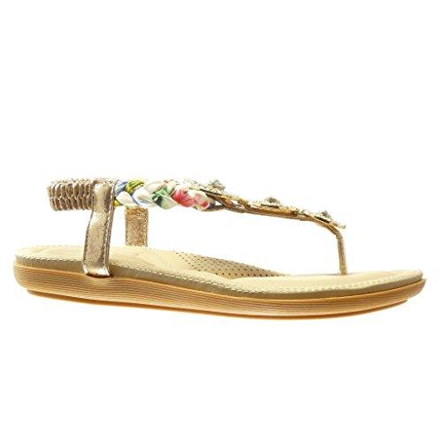 ... flache Ferse 2 CM - Champagner. Angkorly - damen Schuhe Sandalen Flip- Flops - T-Spange - Schmuck - Geflochten