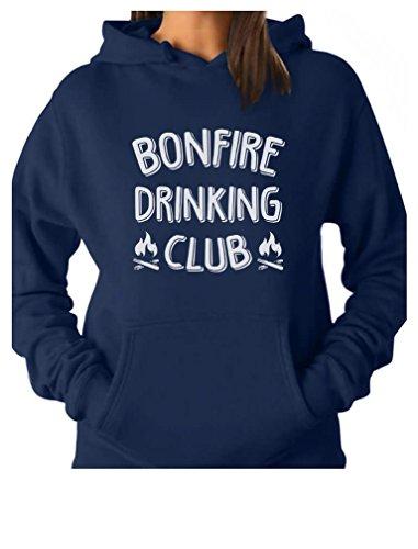 Bonfire Fleece Hoodie - Tstars Bonfire Drinking Club Camper Gift Funny Camping Women Hoodie Medium Blue