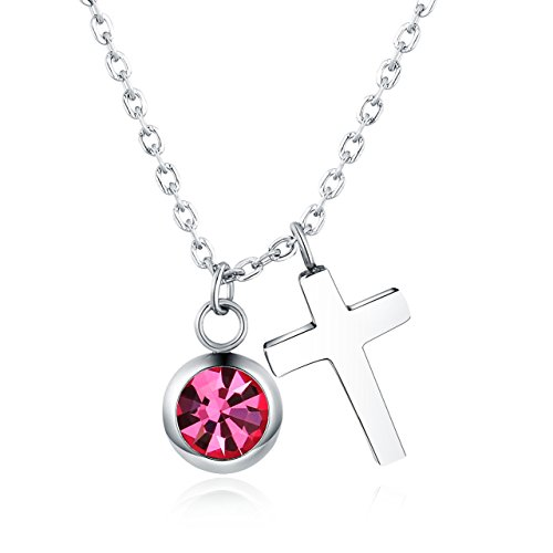 Vinjewelry Crystal Birthstone and Cross Pendant Necklace Girls Best Gifts for Birthday,Christmas,First Communion