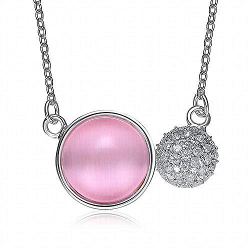 SLL Frauen Koreanische Version der Runde, Andere Beschichtung S925 Silber Nachahmung Opal Gesetzt Kette Frauen Mode Wilden Temperament, Rosa (Runde Rosa)