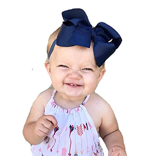 (Miugle Baby Girl Elastic Headbands with Grosgrain Ribbon Bows Navy Blue)