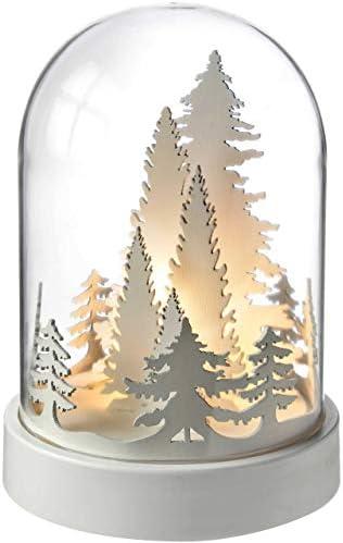 WeRChristmas 19cm Pre-Lit Wooden Trees Bell Jar Warm LED Christmas Decoration White 12.5 x 12.5 x 18.2 cm