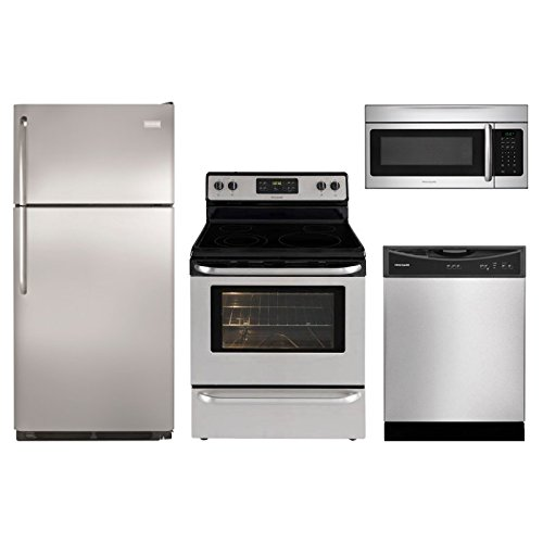 Frigidaire 4 Piece Stainless Steel Electric Appliance Package Special (Freezer Refrigerator, Range, Dishwasher, & Microwave) (4 Piece Appliance Package compare prices)