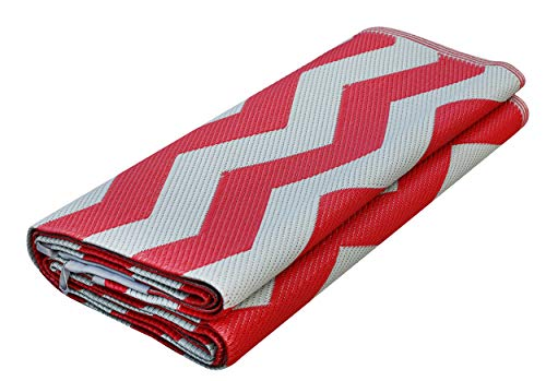 Red Chevron Pattern - Epic Rv Rugs Rv Mat Patio Rug Chevron Pattern 9x12 Dark Red/Gray