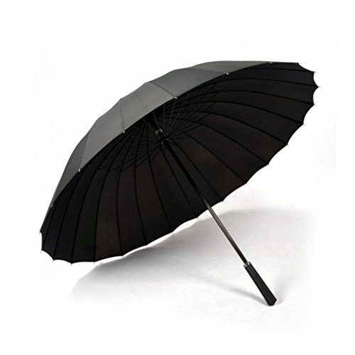 Cheap Fenleo 24 Ribs Support Extra Large Solid Color Umbrella Anti Wind and UV Protection Umbrella (Black)