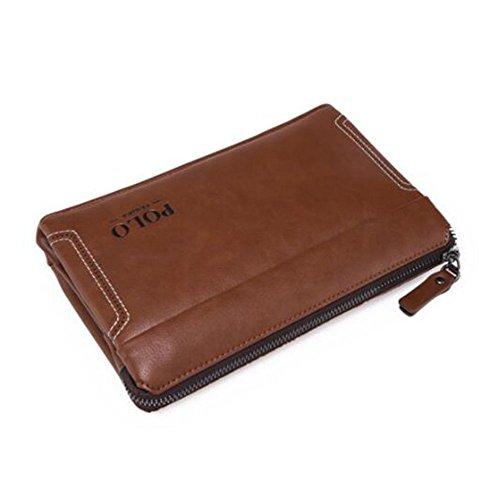 Mano de Grab Mano Negocio de Mano Hombres LEIU Bolso PU Billetera Hombres Bolsa Brown Embrague Bolso Hombres Bolsa Billetera para Bolsa Mano qUH8xFZ