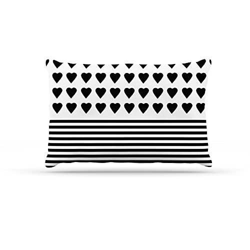 Kess InHouse Emeline Tate Robertson Dog Fleece Bed, 30 by 40-Inch, Heart Stripes Black and White by Kess InHouse