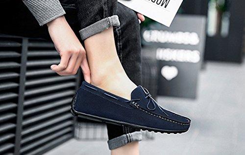 On Slip Zapatillas para de Hombre Oscuro Moda Conducción Zapatos SK Azul Stutio Cuero de Casual Loafers Mocasines Planos ZT8qgz