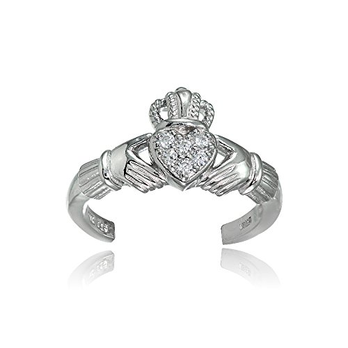 (Hoops & Loops Sterling Silver Cubic Zirconia Claddagh Toe Ring)