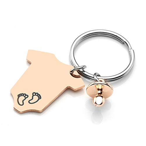 Personalized Master Baby Jumpsuits Pacifier Charm Footprint Birth Announcement Keychain,Baby Shower Party Favors Birthday -