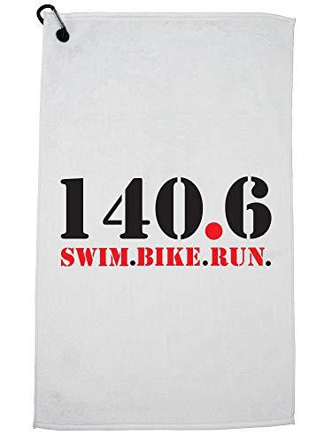 Hollywood Thread 140.6 Swim Bike Run Triathlon - Strong Athlete Golf Towel with Carabiner Clip by Hollywood Thread