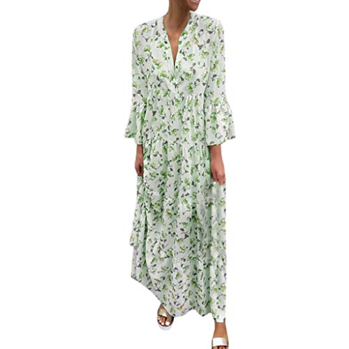 Bohe Dress for Wome,Women Deep V Long Sleeve Loose Dress Casual Plus Size Sundres Maxi Dress Green]()