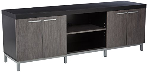 Monarch Specialties Black/Grey Hollow-Core TV Console, 60-Inch - Monarch Tv Cabinet