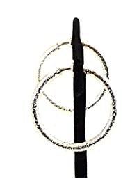 Clip-on Earrings Textured Hoop Frosted Silver 1 inch Hoop Earrings Hypo-Allergenic