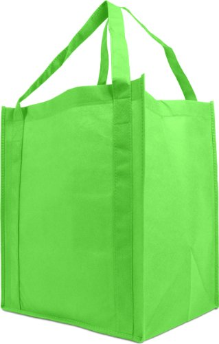 Reusable Reinforced Handle Grocery Tote Bag Large 10 Pack - Grass Green