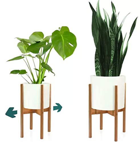 - Mid Century Modern Plant Stand - Bamboo Wood Plant Stand Indoor - 8.5
