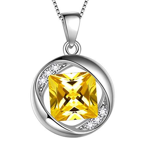 Aurora Tears 925 Sterling Silver November Birthstone Pendants Women Crystal Birthday Necklace Round Birth Stone Jewelry for Kids/Girls/Grandma/Mom DP0029N
