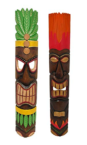 Chesapeake Hand Crafted 40 inch Wood Tiki Totem Wall Mask Set of 2