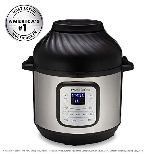 Instant Pot Air Fryer + EPC Combo 8QT Electronic Pressure Cooker, 8 quart, Metallic (Renewed)