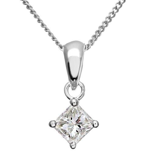 Revoni Bague en or blanc-18carats Solitaire diamant collier pendentif