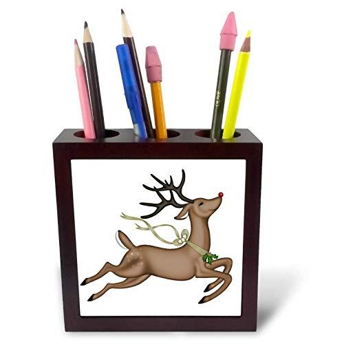 3dRose Anne Marie Baugh - Christmas - Cute Flying Christmas Reindeer Illustration - 5 inch Tile Pen Holder (ph_318483_1)