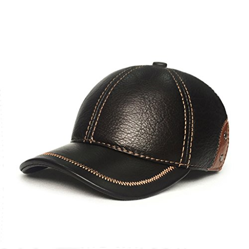 LETHMIK Baseball Caps Cowhide Cool Baseball Hats Adjustable Unisex Ball Caps Leather Hats Brown (Comfortable Leather Hat)