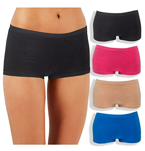 Emprella Underwear Women, 4 Pack Nylon, Spandex Boyshorts Panties (S/M, Assorted)