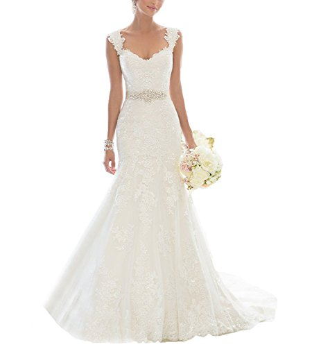 Fanciest Women's Mermaid Lace Wedding Dresses for Bride 2017 Bridal Gowns US10 by Fanciest
