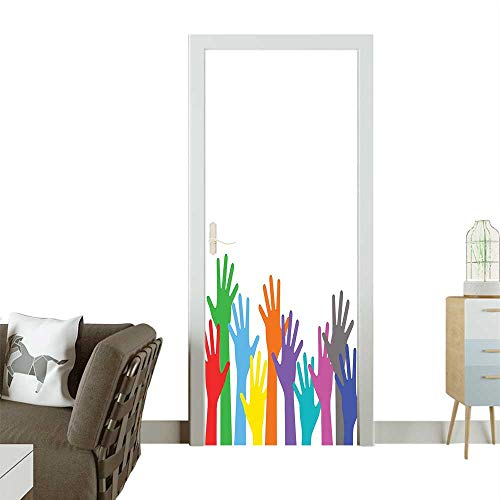 Art Door Stickers Children H Lifted Upward Global Community Hope Hippie Multicolor Door Decals for Home Room DecorationW23.6 x H78.7 INCH -