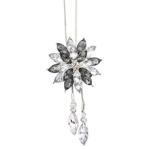 Women Crystal Double Layer Lotus Rhinestone Long Sweater Chain Pendant Necklace by Kimloog (B)
