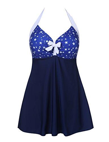 L'amore Women Padded Striped Patchwork Skirted Bottom One Piece Swimdress with Underwire Swimwear (Navy Blue, XXL) -
