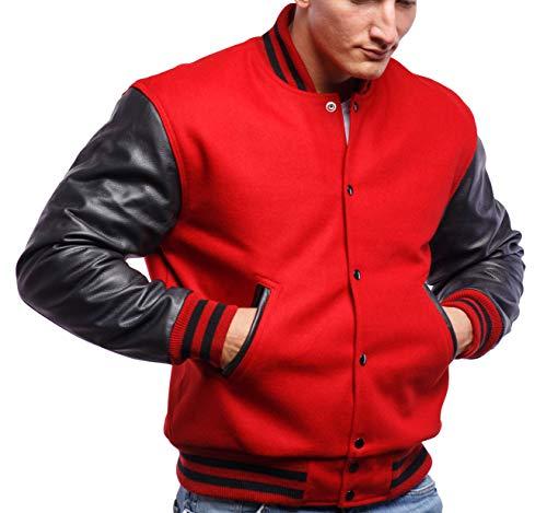 Varsity Base Letterman Jacket (10 Options) - Melton Wool Body & Premium Leather Sleeves - S to 2XL (Scarlet Wool, Black Leather, ()