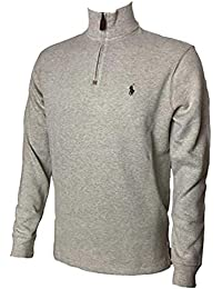 Mens Half Zip French Rib Cotton Sweater (Large, Tan)