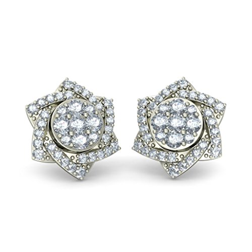 Or blanc 18K 0.766CT TW Round-cut-diamond (IJ | SI) Boucles d'oreille à tige
