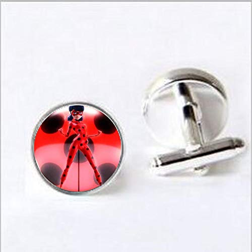 Magical Ladybug Children Long Necklace Cute Lady Bug Cat Noir Cartoon Art Picture Glass Cabochon Pendant Party Kids Jewelry Cufflinks Literary Jewelry
