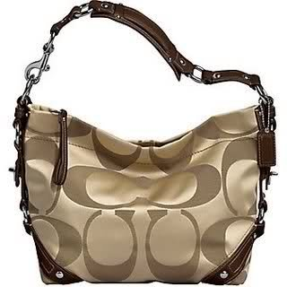 6831bd57dab2 Amazon.com  COACH CARLY SIGNATURE SATEEN KHAKI BROWN BAG 13305  Clothing