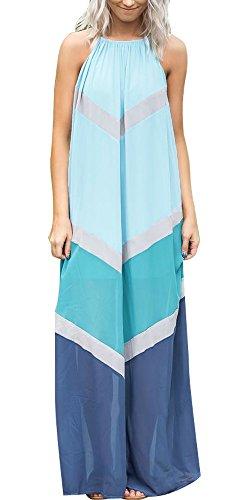 Womens Summer Chiffon Halter Off The Shoulder Color Block Bohemian Long Maxi Dress