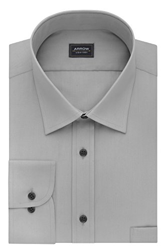 Arrow Men's Big and Tall Poplin Regular Fit Solid Spread Collar Dress Shirt, Mercury, 18