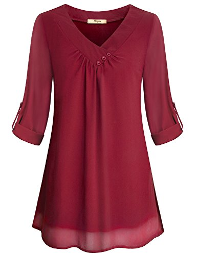 Miusey Red Blouse, Girls Soft Chiffon Material Casual V Neck Maternity Looser Fitting Business Front Pleated Breathable Layered Lovely Tunic Shirts Red L by Miusey