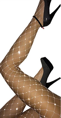 Women High Waist Tight Sparkle Rhinestone Fishnet Stockings Pantyhose (White) (White Fishnets)