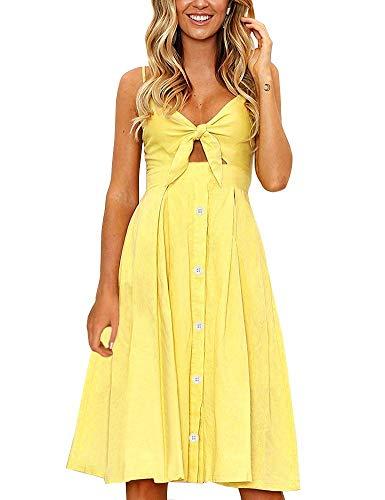 FANCYINN Womens Yellow Tie Front Button Down Spaghetti Strap Midi Dress Yellow M